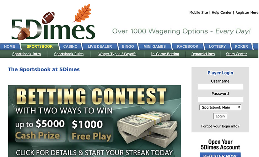 A look of the 5Dimes' official website